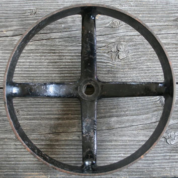 Antique Industrial Factory Black Flat Belt Flywheel for Decor and Art