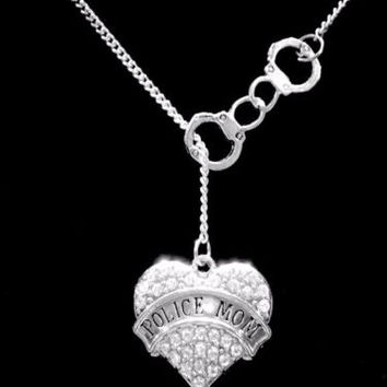 Crystal Police Mom Heart Handcuffs Law Enforcement Officer Gift Lariat Necklace