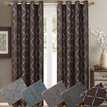 Laguna Pair (Set of 2) Jacquard Grommet Window