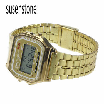 Vintage Womens Men Stainless Steel Digital Alarm Stopwatch Wrist Watch Watches Relogio Popular Wristwatch Watches montre Relojes