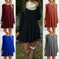 2016 New Fashion Style Lady Solid Casual Autumn Full Sleeve O neck Dress