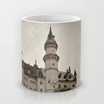 Art Coffee Cup Mug Neuschwanstein Castle photography home decor Java Lovers grey gray black Gothic photo texture Germany German Renaissance