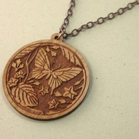 Brown cherry wood laser cut butterfly pendant necklace copper chain