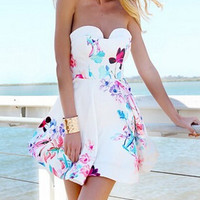 Floral Strapless A-Line Mini Dress