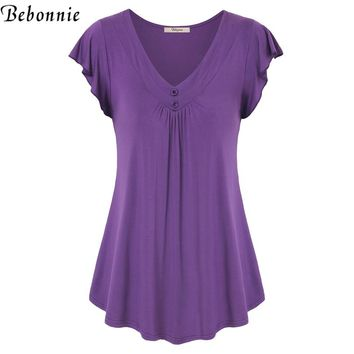 V-Neck Butterfly Short Sleeve Women T-Shirts Pleated Curved Hem Female Solid Tee With Buttons Loose Knitted Top