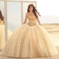 BEADED STRAPLESS QUINCEANERA DRESS BY RAGAZZA FASHION STYLE B75-375