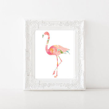 Floral Flamingo Print, Flamingo Floral Watercolor 8x10 print, Flamingo nursery decor, pink Flamingo party decor, flamingo printable