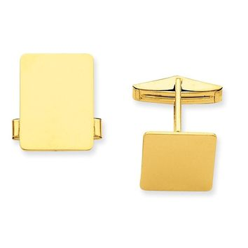 14k Solid Gold Rectangular Cuff Links