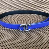 Chanel Fashion Women Simple Logo Smooth Buckle Belt Pure Color Leather Belt Blue I-KWKWM
