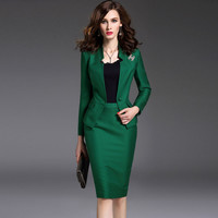 New Women's Skirt Suits Work Wear Spring and Autumn Long-sleeve Slim Suit + Package Hip Skirt Office Ladies Formal Wear Female