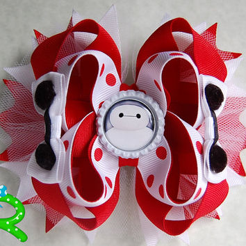 Big Hero 6 Boutique Hair Bow , Baymax Layered Bow , Baymax Stacked Bow , White Ott bow
