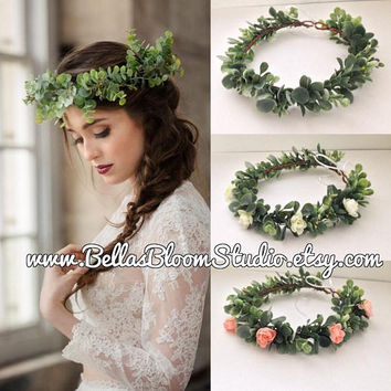 Succulent Flower Crown ,Flower crown wedding, greenery crown, bridal flower crown, green flower crown, greenery headpiece Succulent etsy