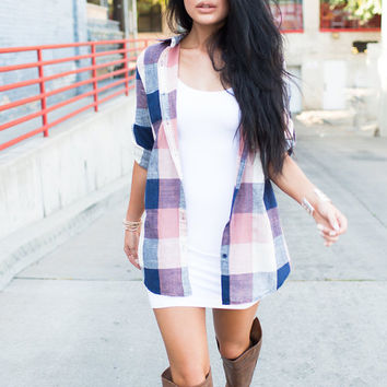 Loose Around the Edges Plaid Top Coral/Navy