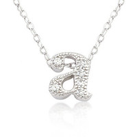 Micro-Pave Silver Initial Pendant Necklaces