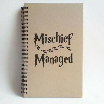 Mischief managed, foot prints, 5X8 Journal, spiral notebook, brown kraft notebook, white journal, harry potter gift, diary sketchbook, quote