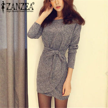 Sexy Women Dresses Bodycon Dress Long Sleeves Slim Knitting Mini Dress Tunic Winter European Style Vestidos