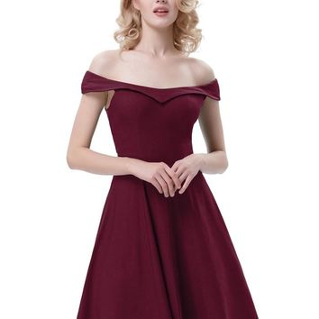 Give You the Shoulder Burgundy Dress