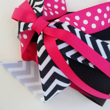 hot pink hair streamer, pink and black bow, girls ponytail ribbon streamer bow, back to school, chevron polka dot, hot pink black and white