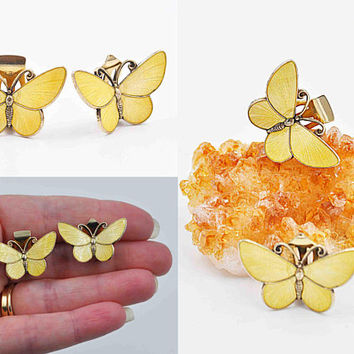 Vintage David-Andersen Sterling Silver Butterfly Clip Earrings, Willy Winnaess, Yellow, Guilloche Enamel, Norway, 3D, Htf! #c126