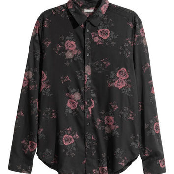 Viscose shirt - Black/Roses - Men | H&M GB