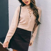 Carah Knit Lace Up Sweater