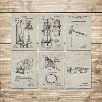 Firefighter Decor, Patent Print Set, Firefighter Wall Art, Fireman Printable, Firefighter Art Gift, Fireman Art Gift, Art, INSTANT DOWNLOAD