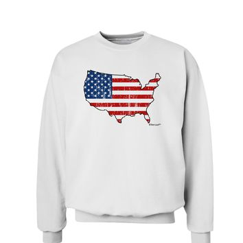 United States Cutout - American Flag Distressed Sweatshirt by TooLoud