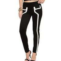 Black/White Contrast Skinny Pants