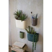 Set Of 4 Ceramic Rectangle Wall Vases - One Each Color