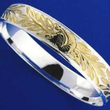 SILVER 925 HAWAIIAN BANGLE BRACELET HIBISCUS FLOWER MAILE LEAF 12MM 2 TONE