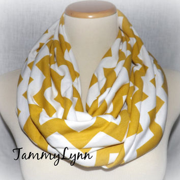 Mustard Chevron on White Infinity Scarf Jersey Knit Cotton Zig Zag Women's Accessories