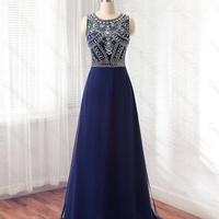Navy Blue prom dress, formal dress, evening dress, homecoming dress