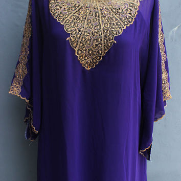 Purple Caftan Dress, Chiffon Wedding Summer Party Kaftan Embroidery Dress