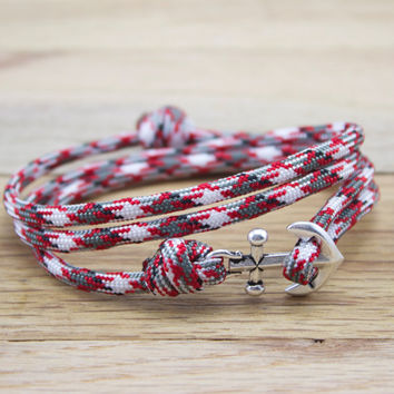 Anchor Paracord Nautical Bracelet in Red Camo