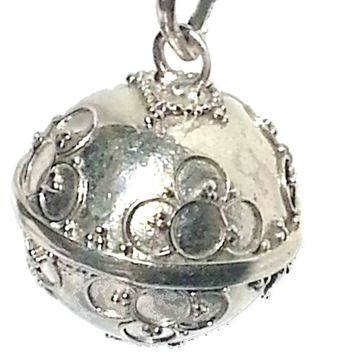 Sterling Silver handmade Bali 16 mm Harmony Ball 4 intertwine Circle Pendant