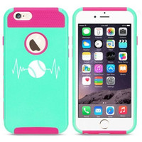Apple iPhone 6 6s Hybrid Shockproof Impact Hard Cover / Soft Silicone Rubber Inside Case Heart Beats Softball Baseball (Light Blue-Hot Pink)