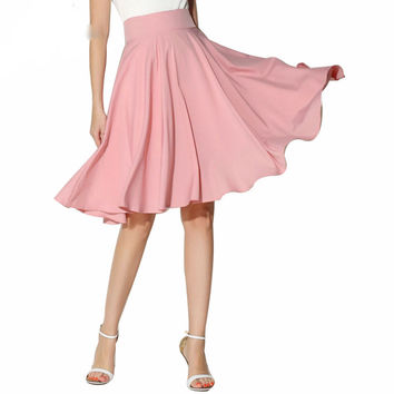 High Waist Pleated A Line Skirt