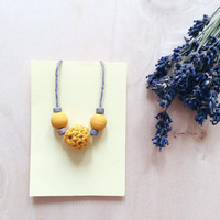 Mustard Necklace, Crochet Wooden Necklace, Cotton Anniversary Gift, Eco-friendly Jewellery