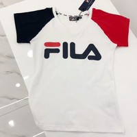FILA Spring Summer Hot Letter Print Short Sleeve T-Shirt Top I-G-JGYF