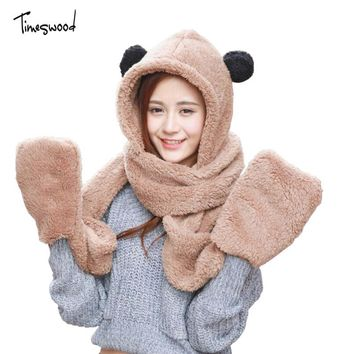 2017 Winter Warm Scarf And Hat Sets Woman Parent Child Hats Cute Bear Ear Cotton Caps Scarf Gloves Set Youth Telefingers Gloves