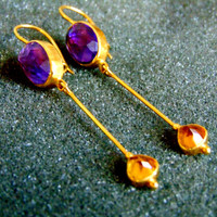 Stunning 18k gold, amethyst and citrine drop earrings- Gold 750 gemstone earrings- Women's gold earrings-Artisan jewelry-Greek art