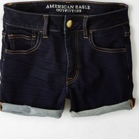 AEO Women's Denim X Hi-rise Shortie (Dark Rinse)
