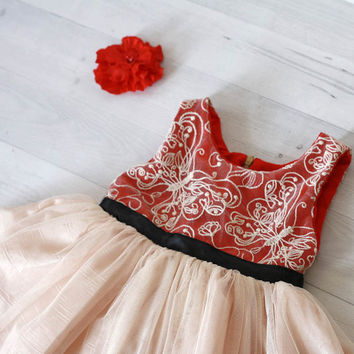 Girl's dress lace red and cream, tutu dress, Christmas dress, Butterfly lace and satin dress