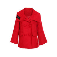 Polo Neck Long Sleeves Flare Cuff Wool Coat
