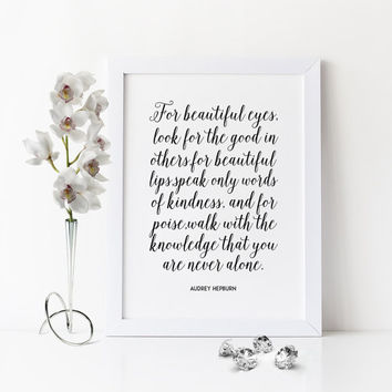 AUDREY HEPBURN QUOTE,Gift For Her,Darling I Love You,Inspirational Quote,Motivational Print,Wall Art,Womens Gift,Anniversary Sign,Wedding