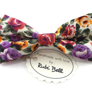 Bow Tie - floral bow tie - wedding bow tie - white bow tie with red, purple, green and yellow flowers - man bow tie - men bow tie