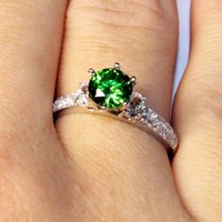 Emerald Promise Ring Solitaire Green Cubic Zirconia on Hand1