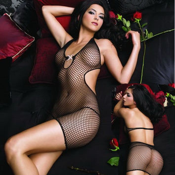 Spaghetti Strap Backless Mesh Lingerie Bodystocking