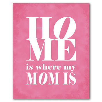 Mom's Gift - Wall Art - Home is where my mom is - Mother's Day Gift - TypographyWord Art Print - Room Decor - Chalkboard vintage distressed