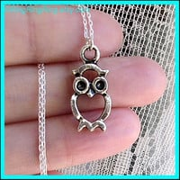 owl necklace Sterling silver necklace jewelry Cute by RingRingRing